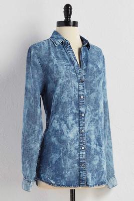 acid wash side button shirt