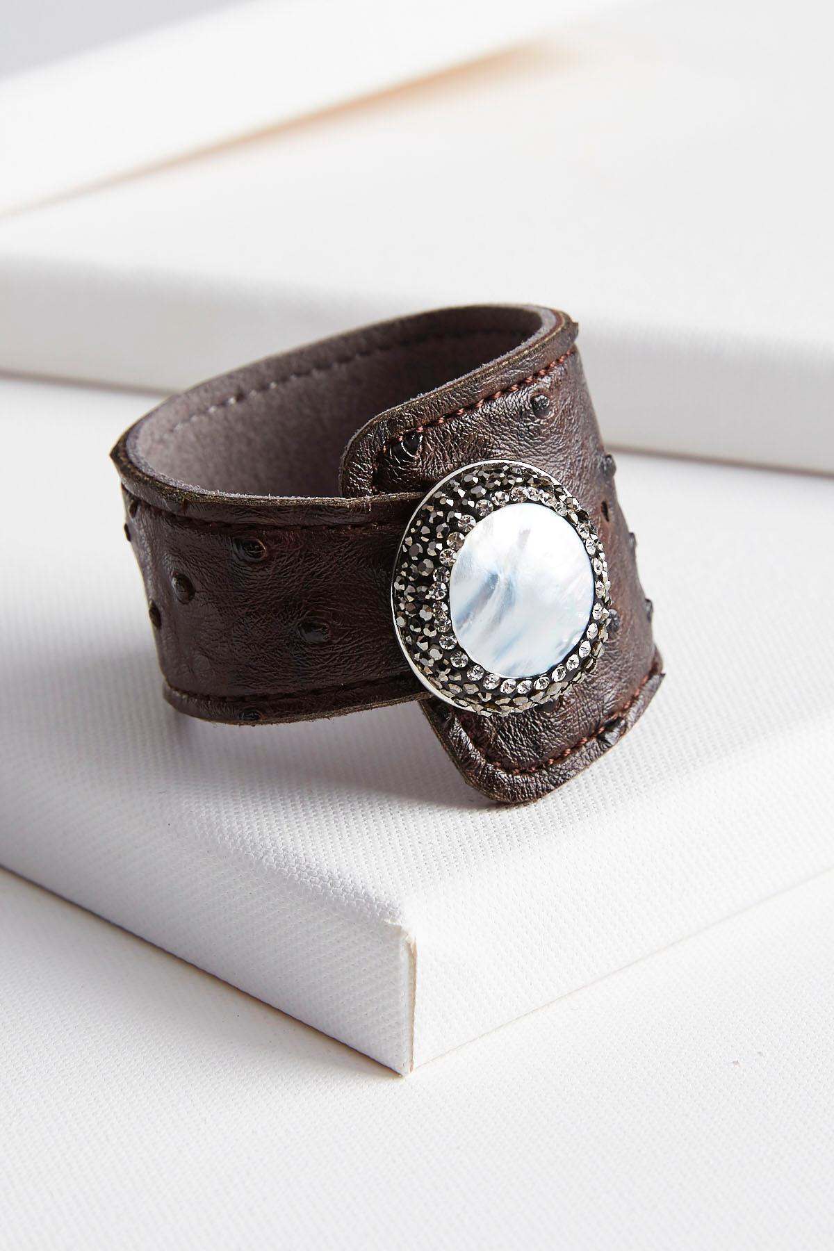 Jeweled Faux Leather Wrap Bracelet