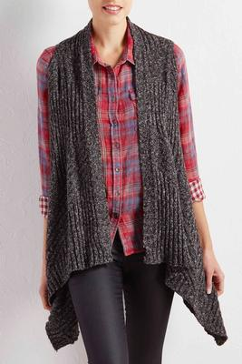 marled waterfall sweater vest
