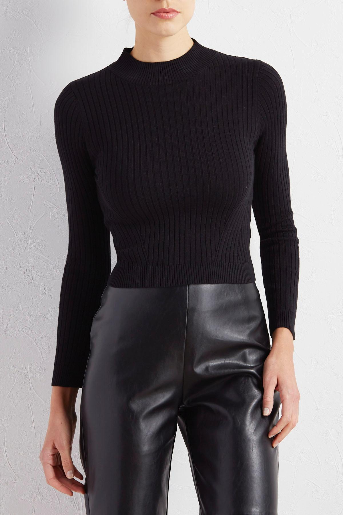 Ribbed Mock Neck Skimmer Sweater