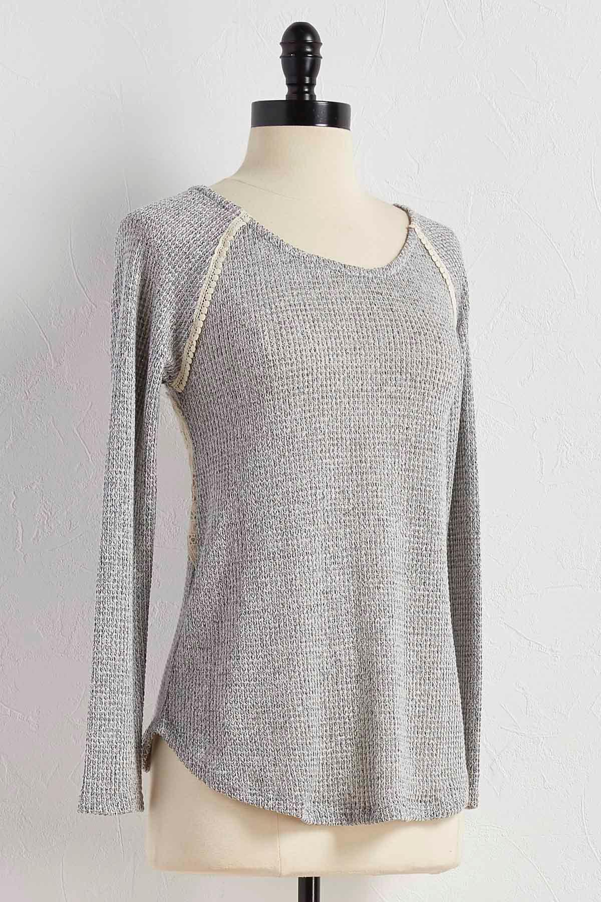 Crochet Inset Marled Knit Top
