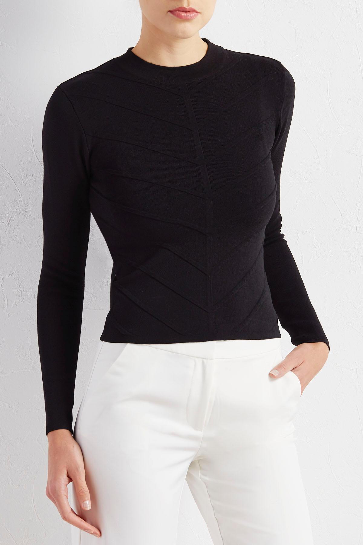 Mitered Mock Neck Skimmer Sweater