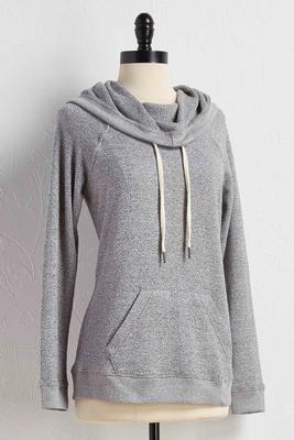 marled cowl athleisure hoodie
