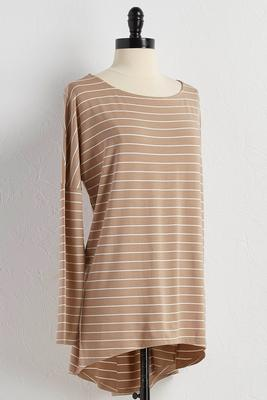 striped high-low tunic