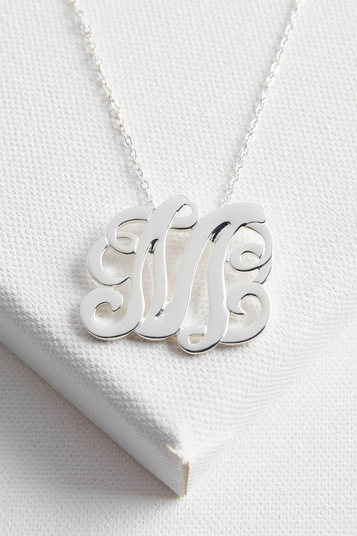 Initial Scroll Brass Pendant Necklace- M