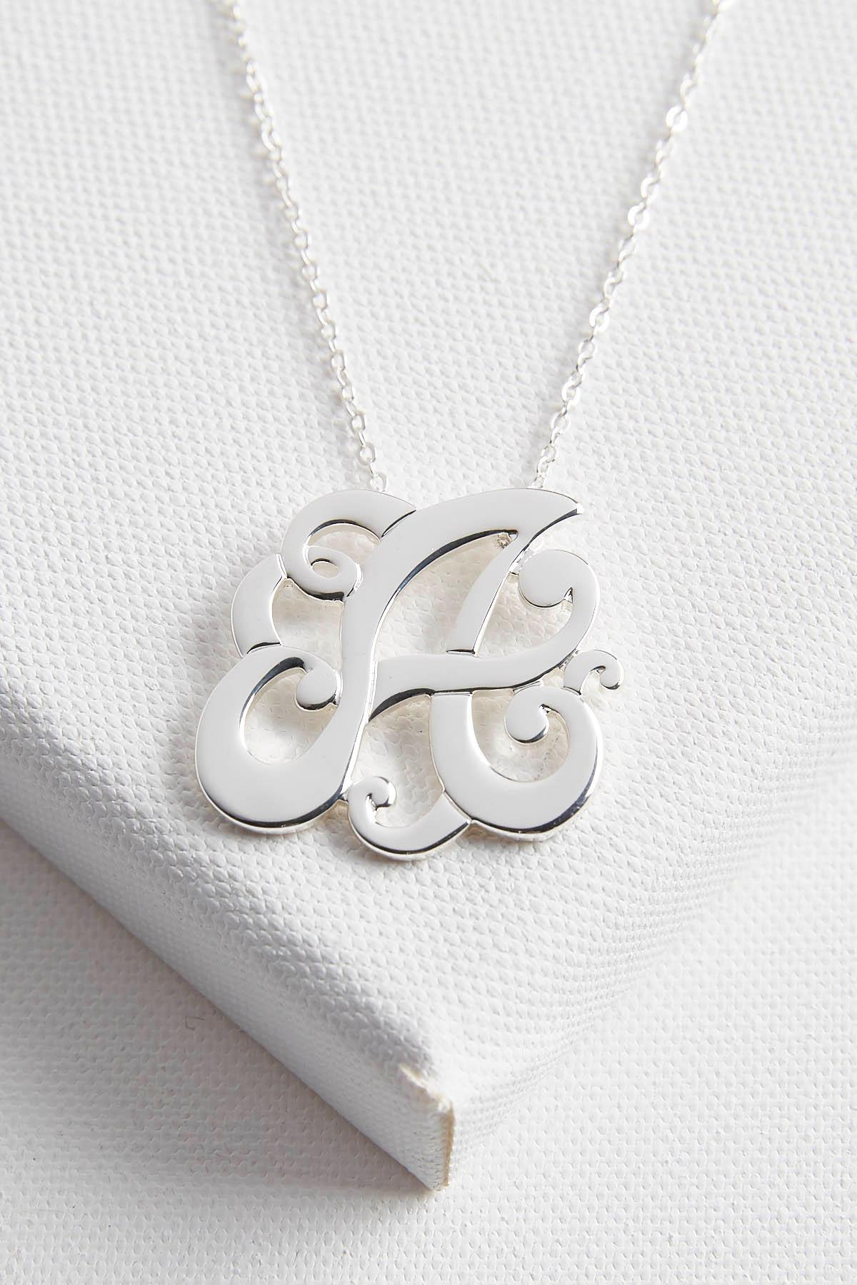 Initial Scroll Brass Pendant Necklace- A
