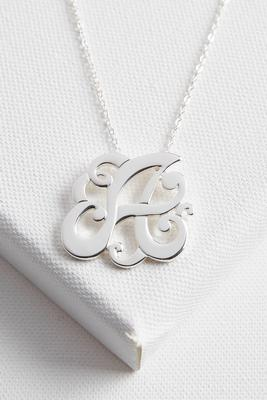 initial scroll brass pendant necklace-a