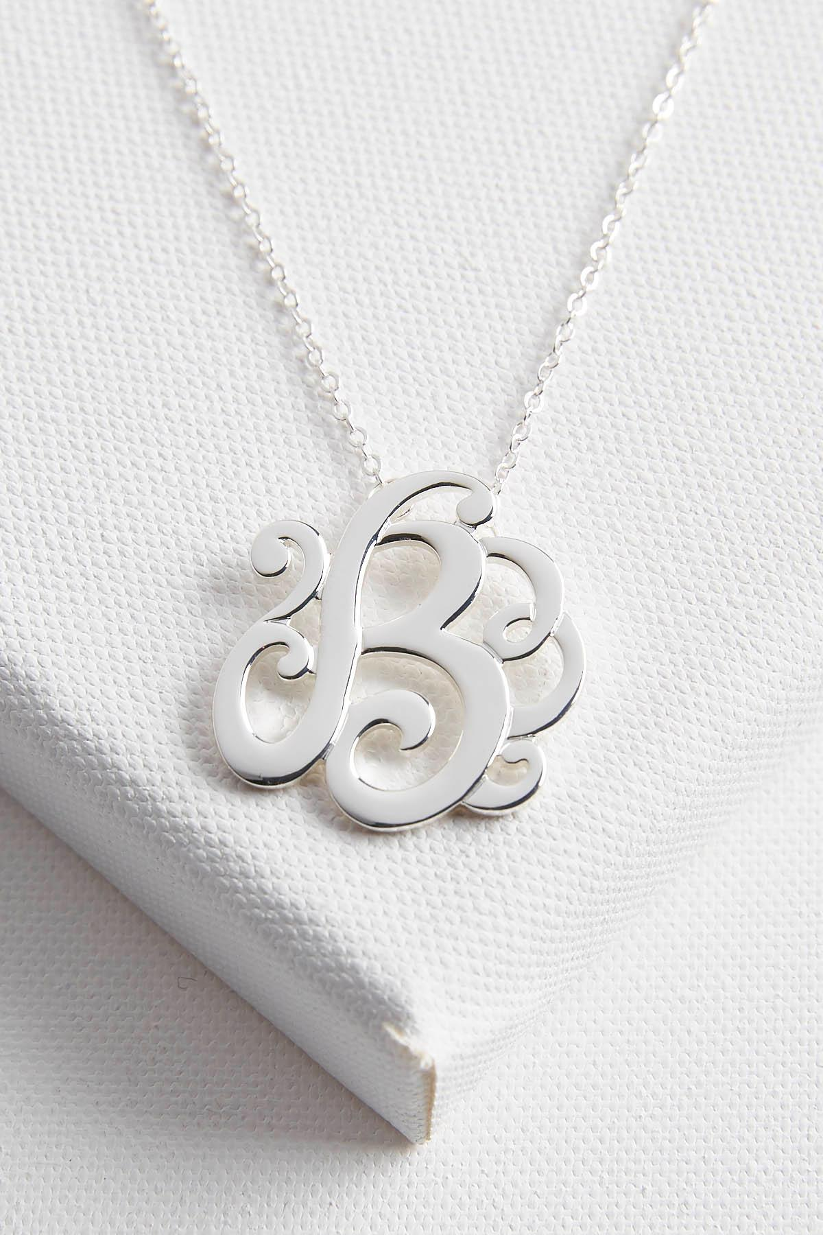 Initial Scroll Brass Pendant Necklace- B