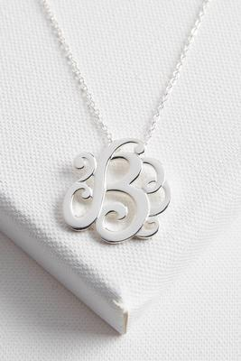 initial scroll brass pendant necklace-b