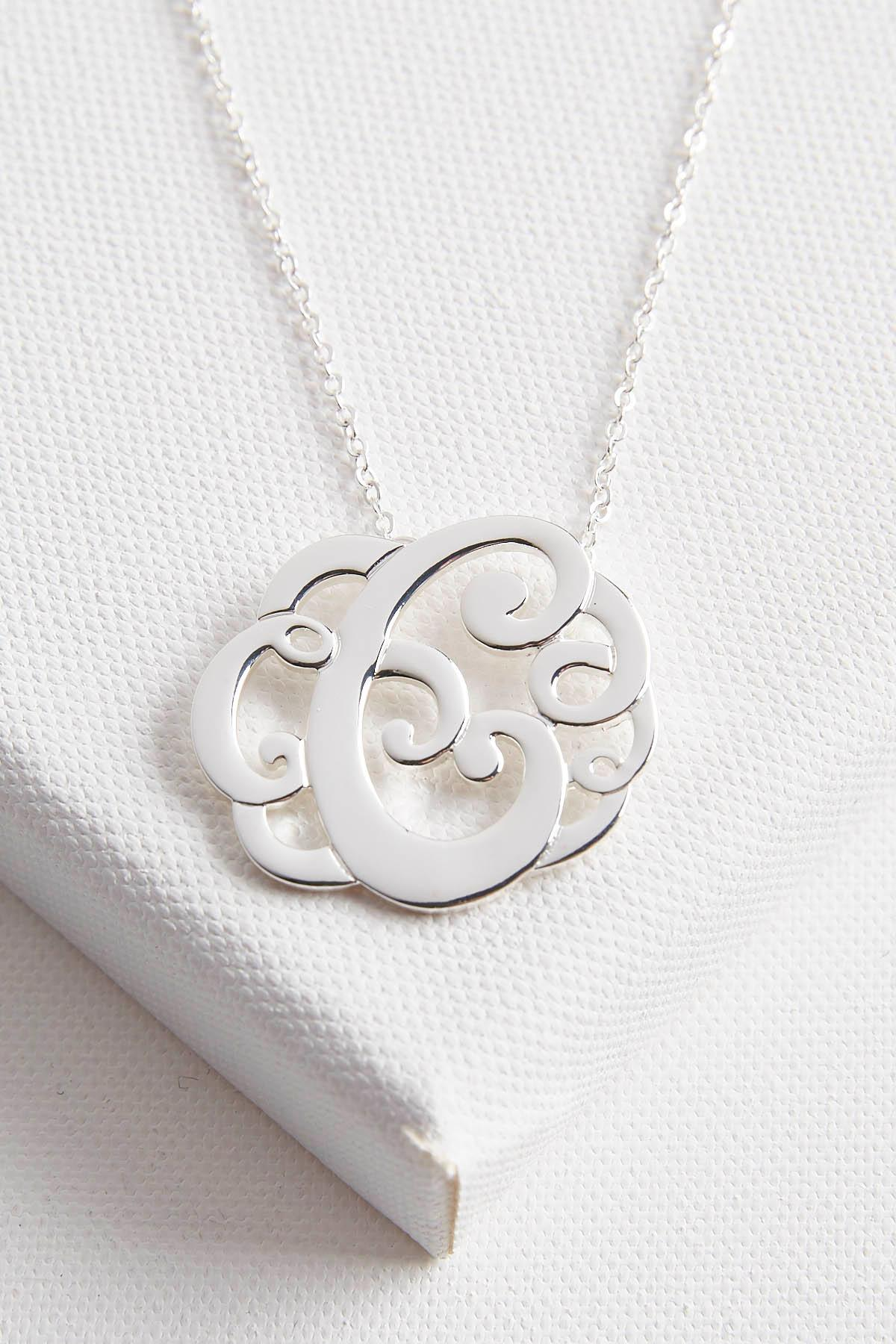 Initial Scroll Brass Pendant Necklace- C