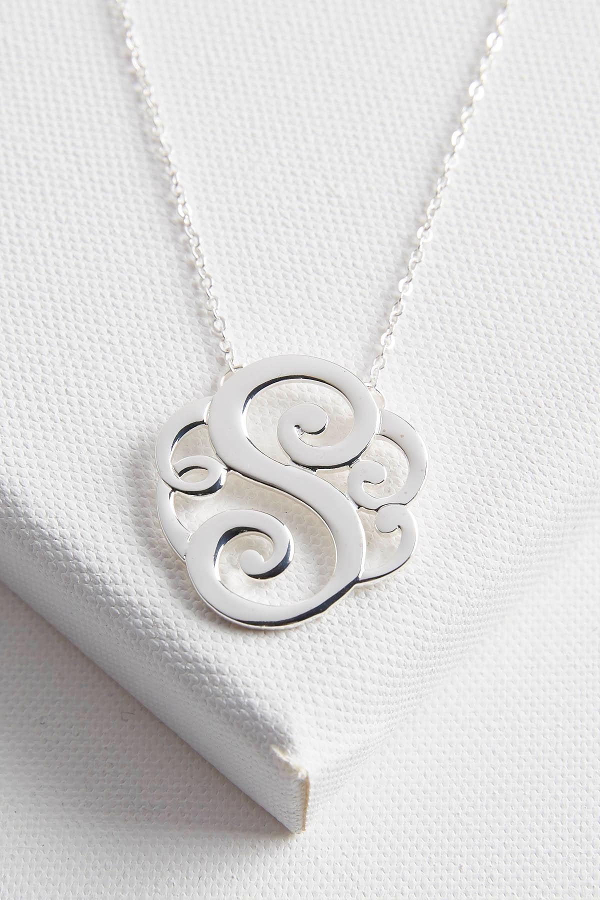 Initial Scroll Brass Pendant Necklace- S