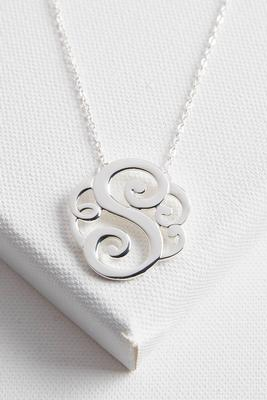 initial scroll brass pendant necklace-s