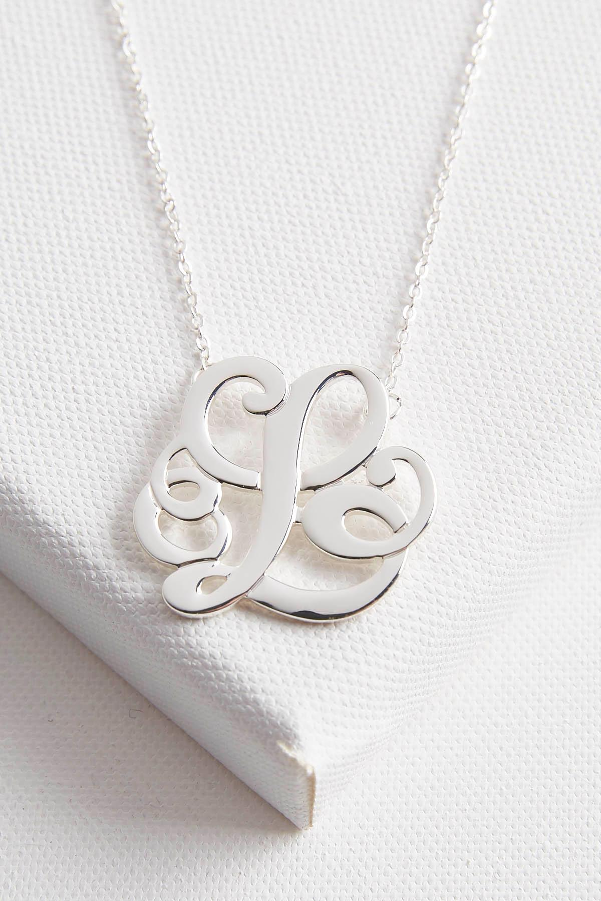 Initial Scroll Brass Pendant Necklace- L
