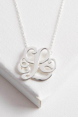 initial scroll brass pendant necklace-l
