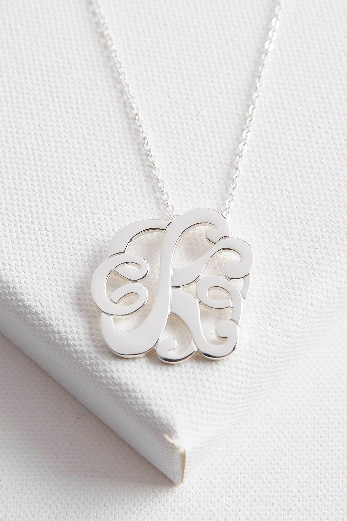 Initial Scroll Brass Pendant Necklace- K