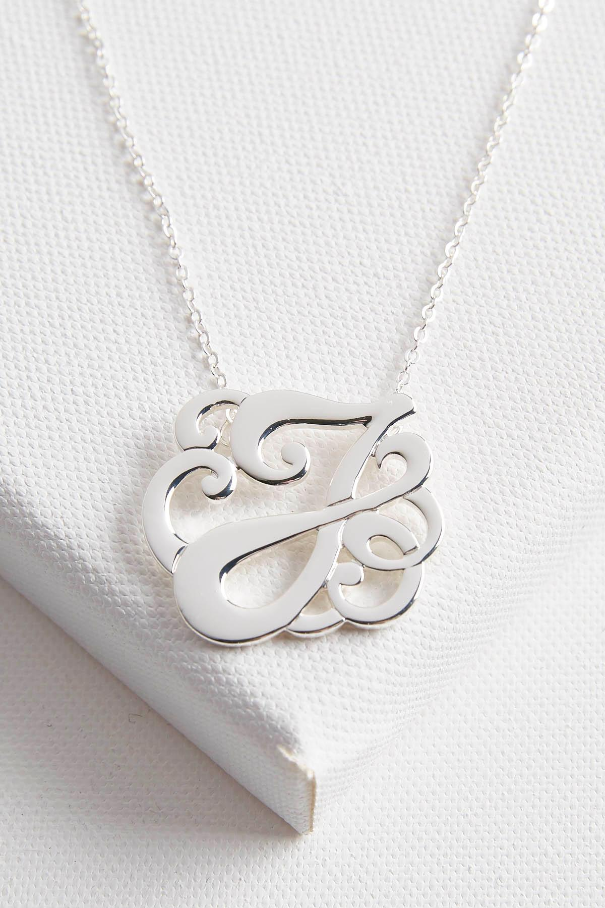 Initial Scroll Brass Pendant Necklace- J
