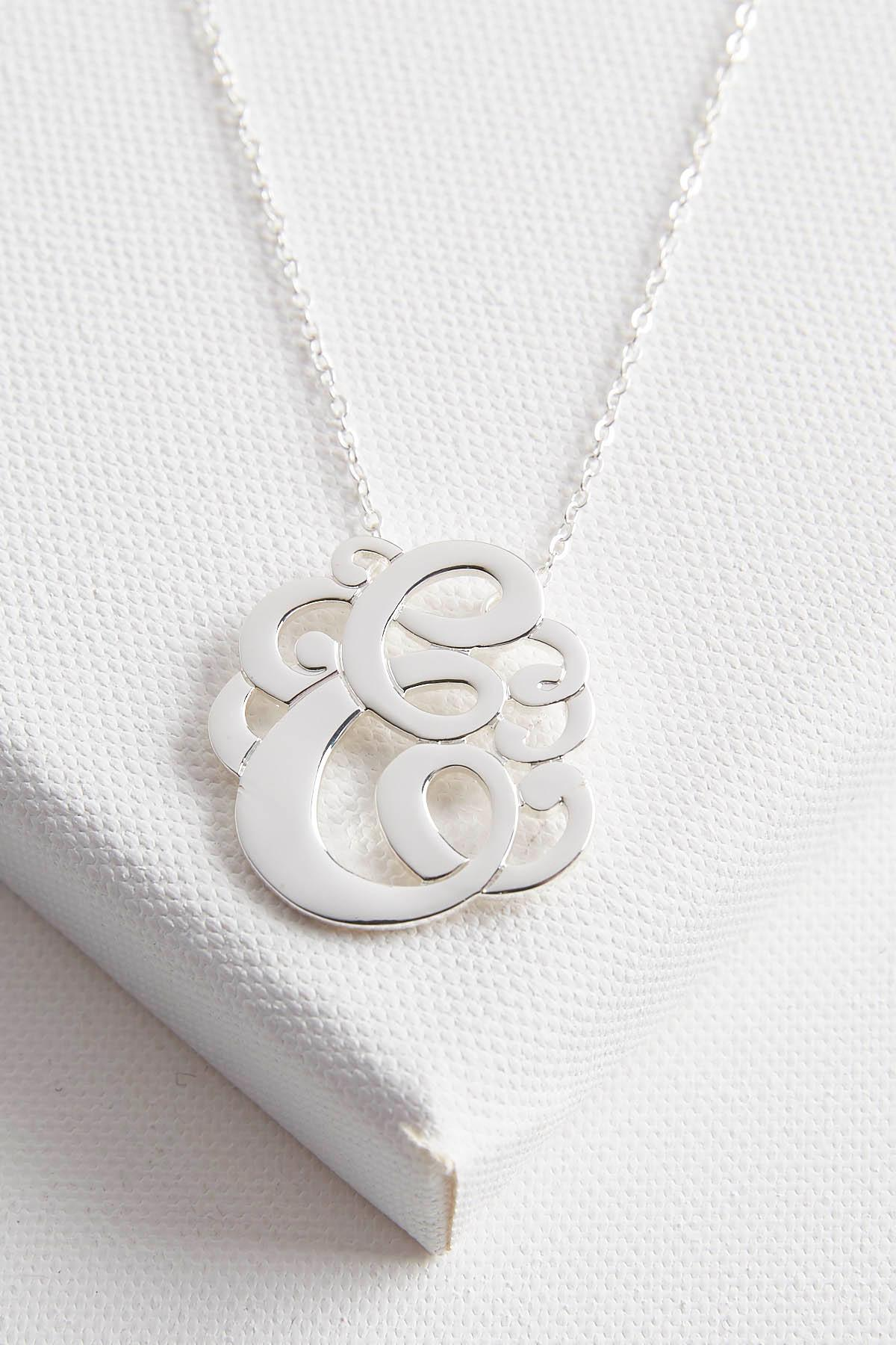 Initial Scroll Brass Pendant Necklace- E