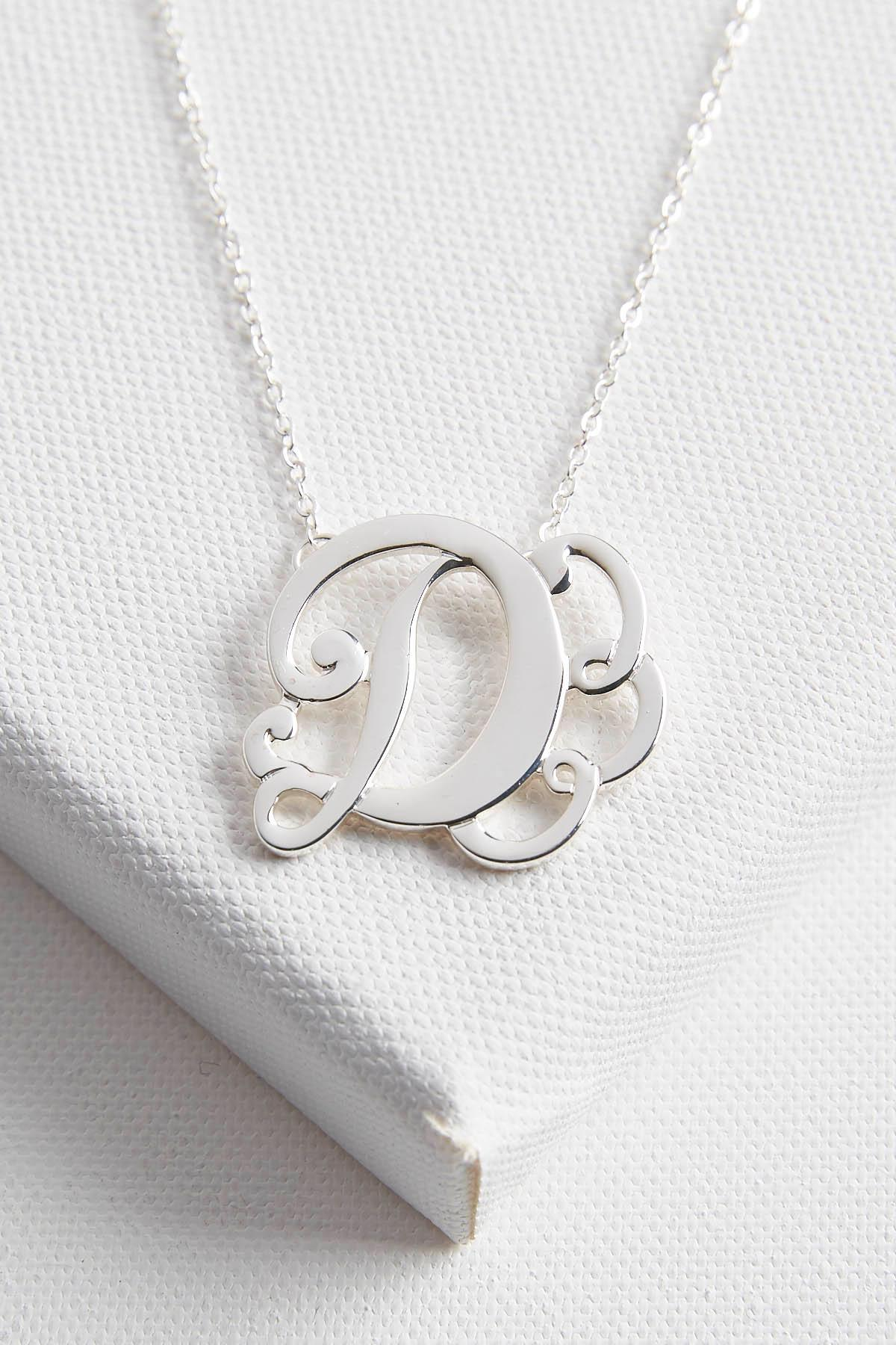 Initial Scroll Brass Pendant Necklace- D