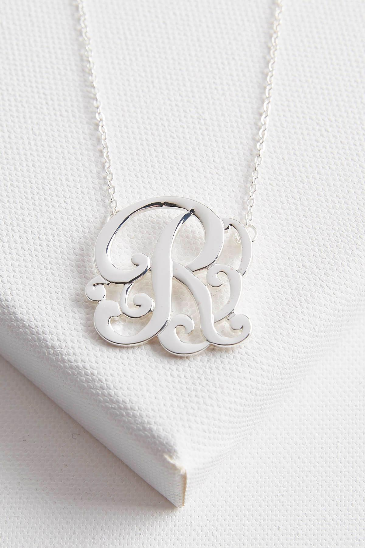 Initial Scroll Brass Pendant Necklace- R