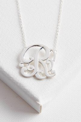 initial scroll brass pendant necklace-r