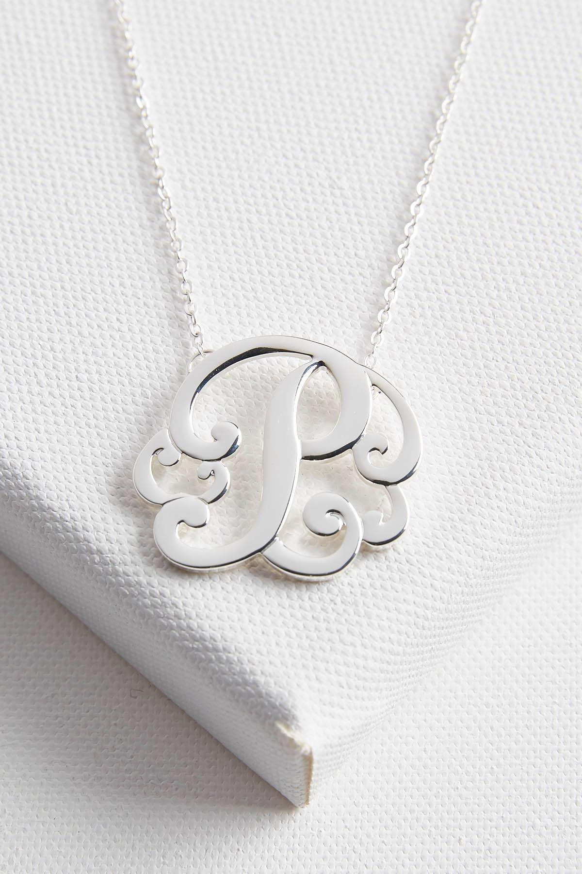 Initial Scroll Brass Pendant Necklace- P