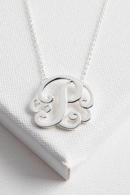 initial scroll brass pendant necklace-p