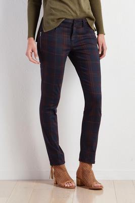 plaid twill skinny pants