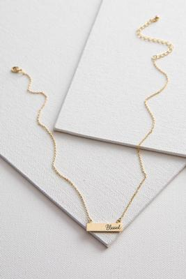 brass blessed bar pendant necklace