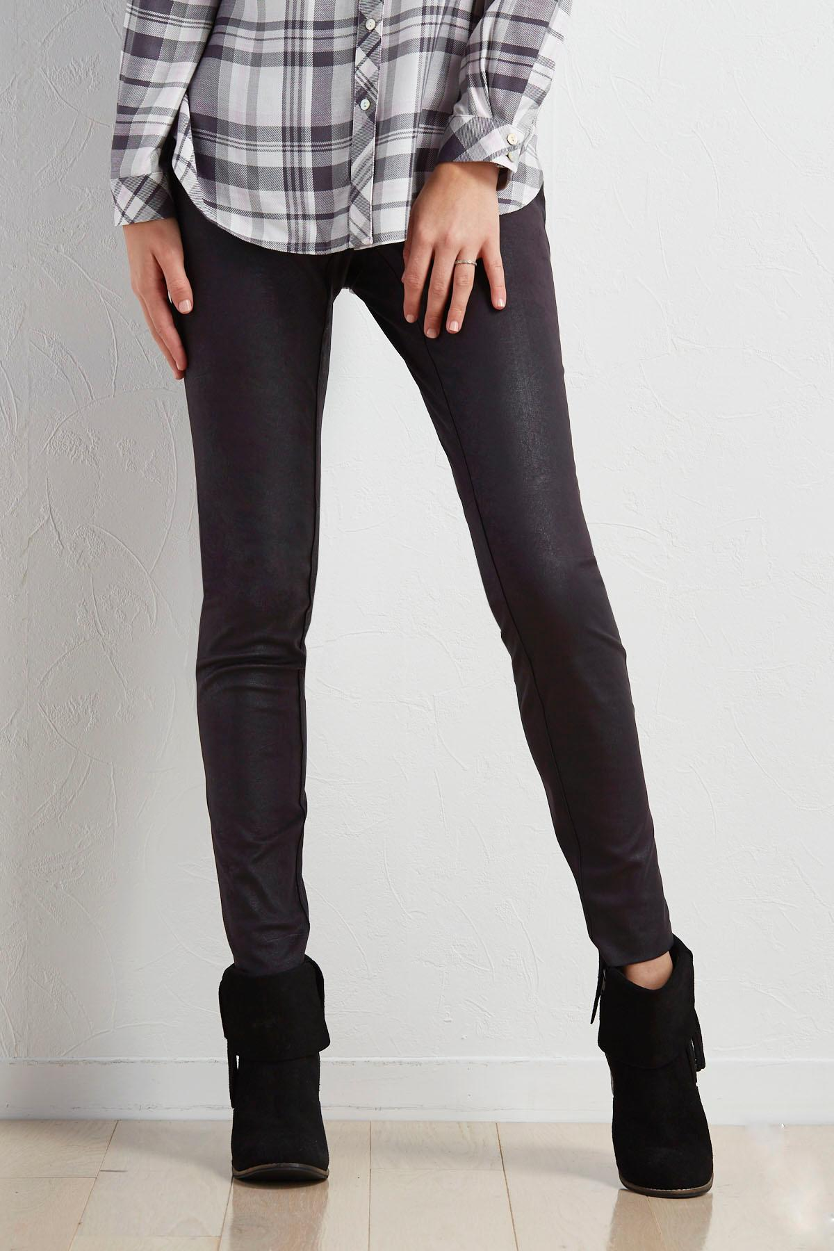 Coated Faux Suede Skinny Pants