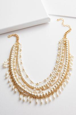 chain and pearl layered necklace