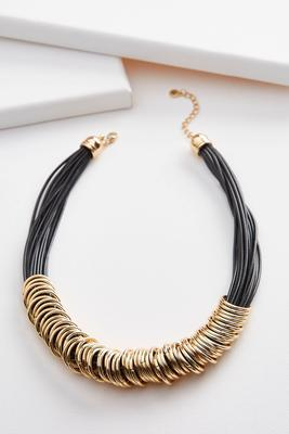 metal ring multi cord necklace