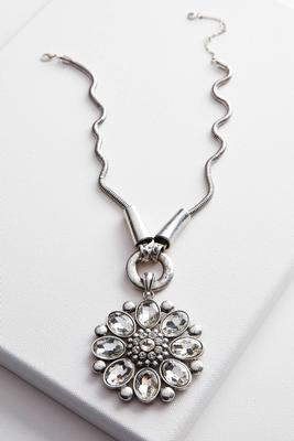 flower stone pendant necklace