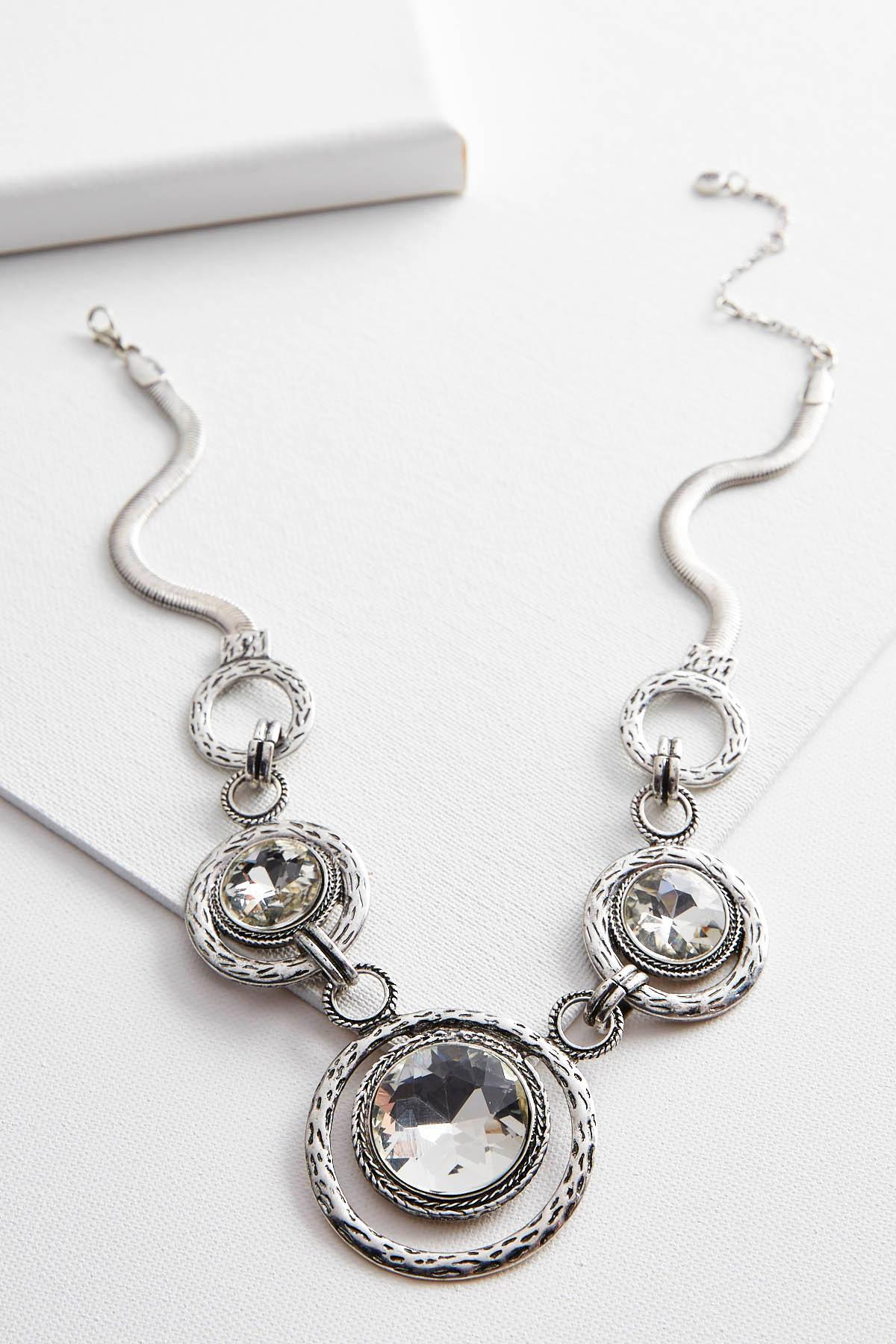 Hammered Disc Stone Bib Necklace
