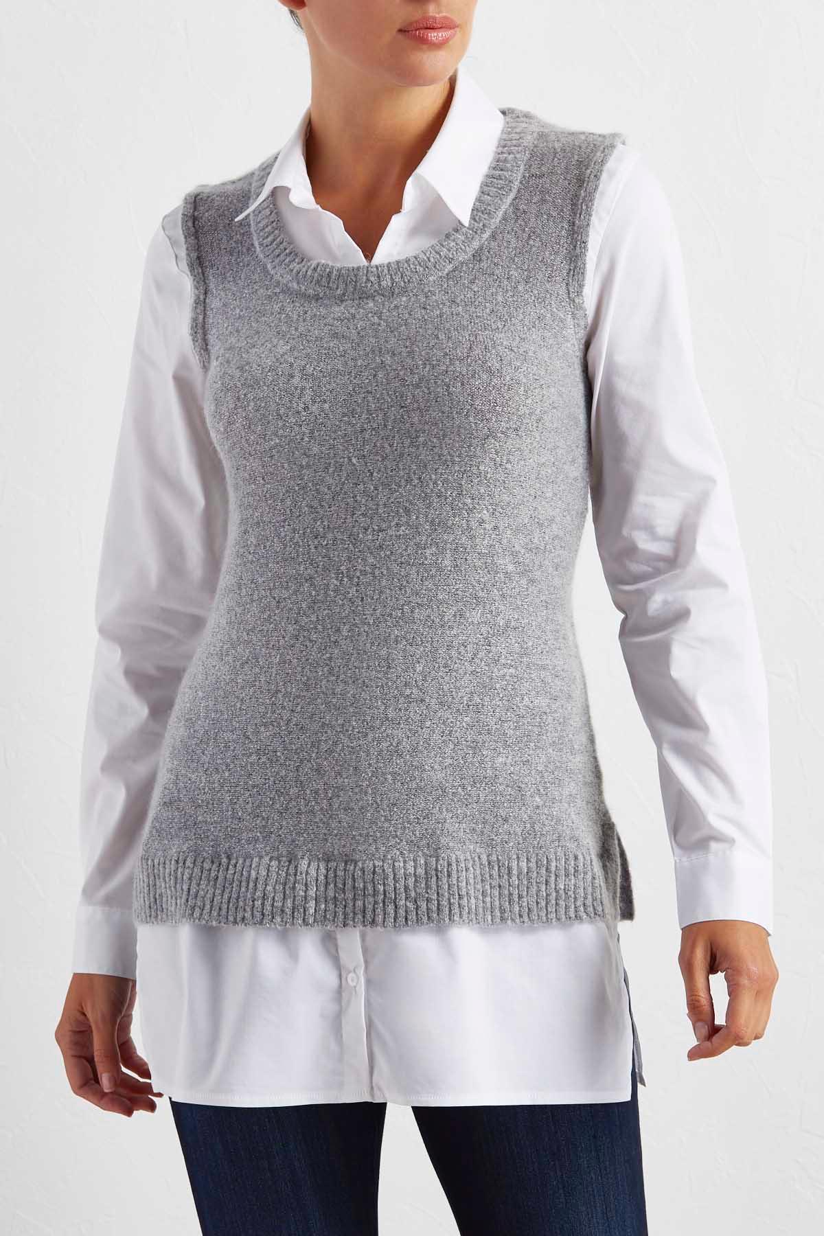 Mock Layered Mixed Media Sweater