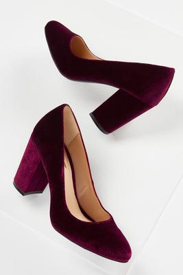 velvet block heel pumps