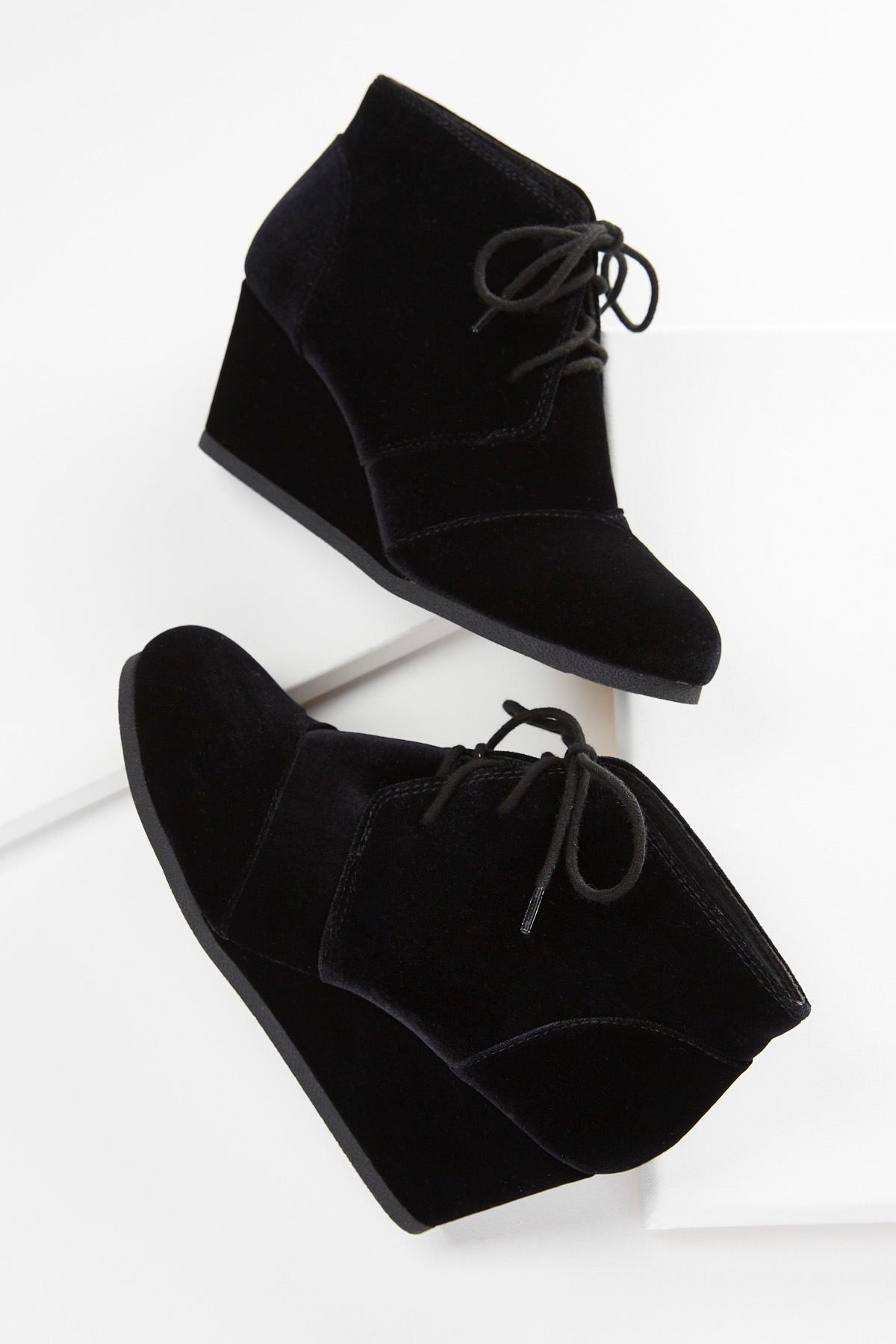 Velvet Lace Up Wedges