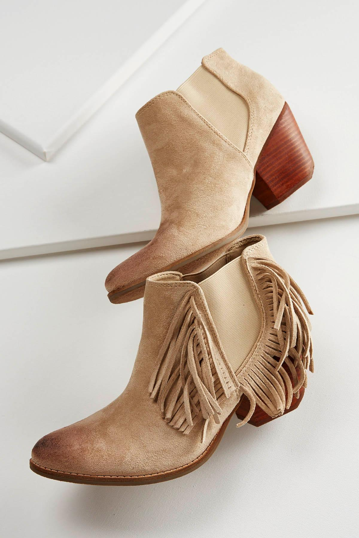 Fringe Gored Ankle Boots