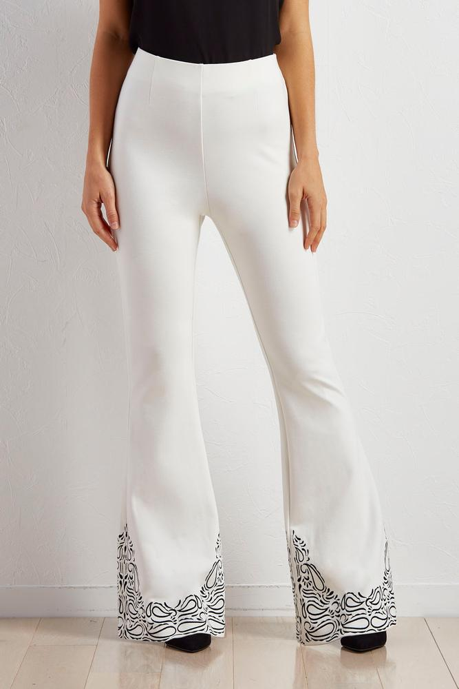 Embroidered Ponte Pull- On Flare Pants