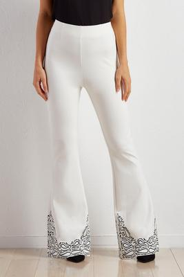 embroidered ponte pull-on flare pants