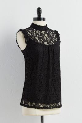 lace mock neck tank