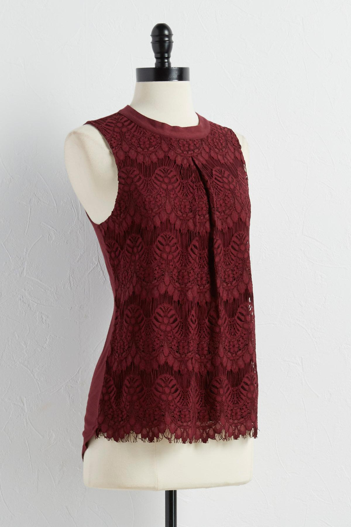 Lace Front High- Low Tank