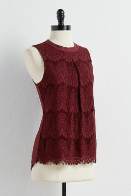 lace front high-low tank