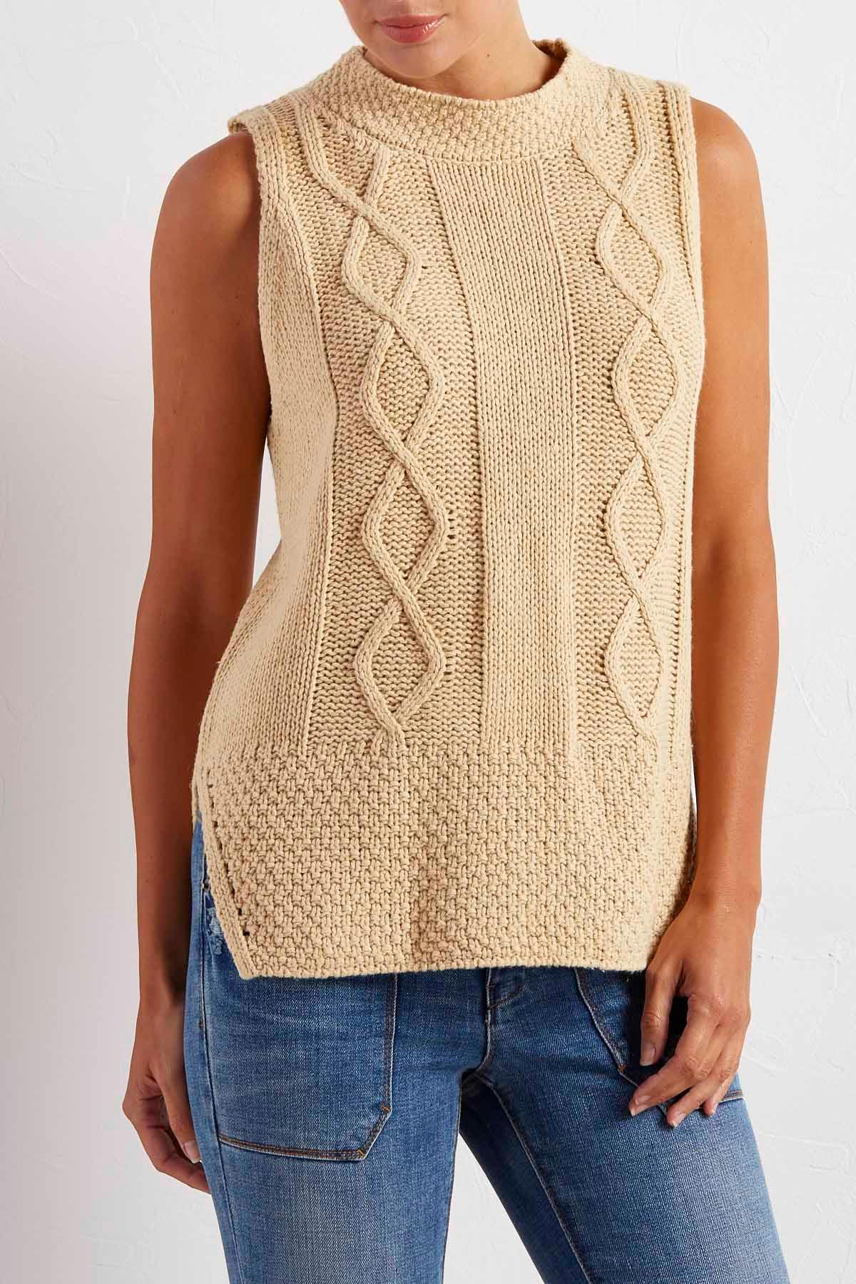 Cable Knit Criss Cross Back Sweater