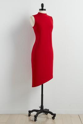 mock neck asymmetrical sheath dress