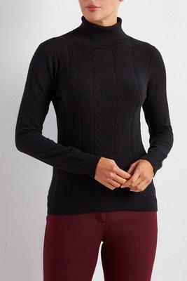 braided knit turtleneck sweater
