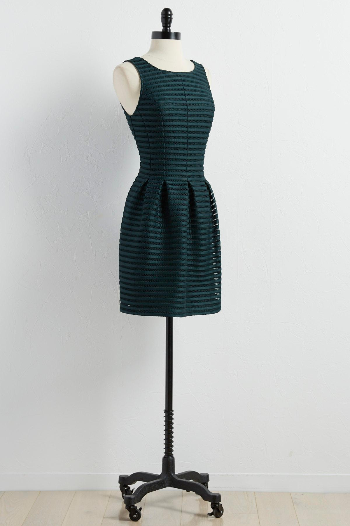 Striped Scuba Mesh Fit And Flare Dress