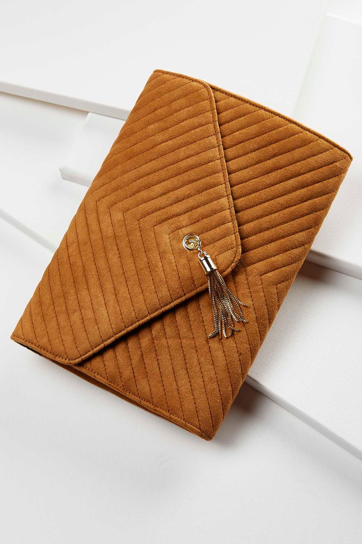 Quilted Tassel Clutch