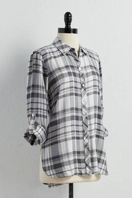 plaid high-low shirt