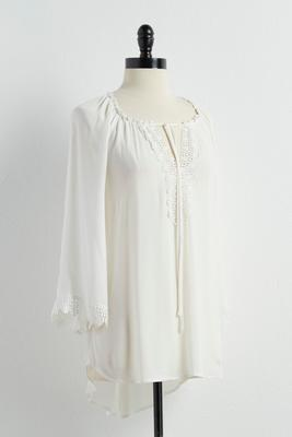 crochet trim swing poet top