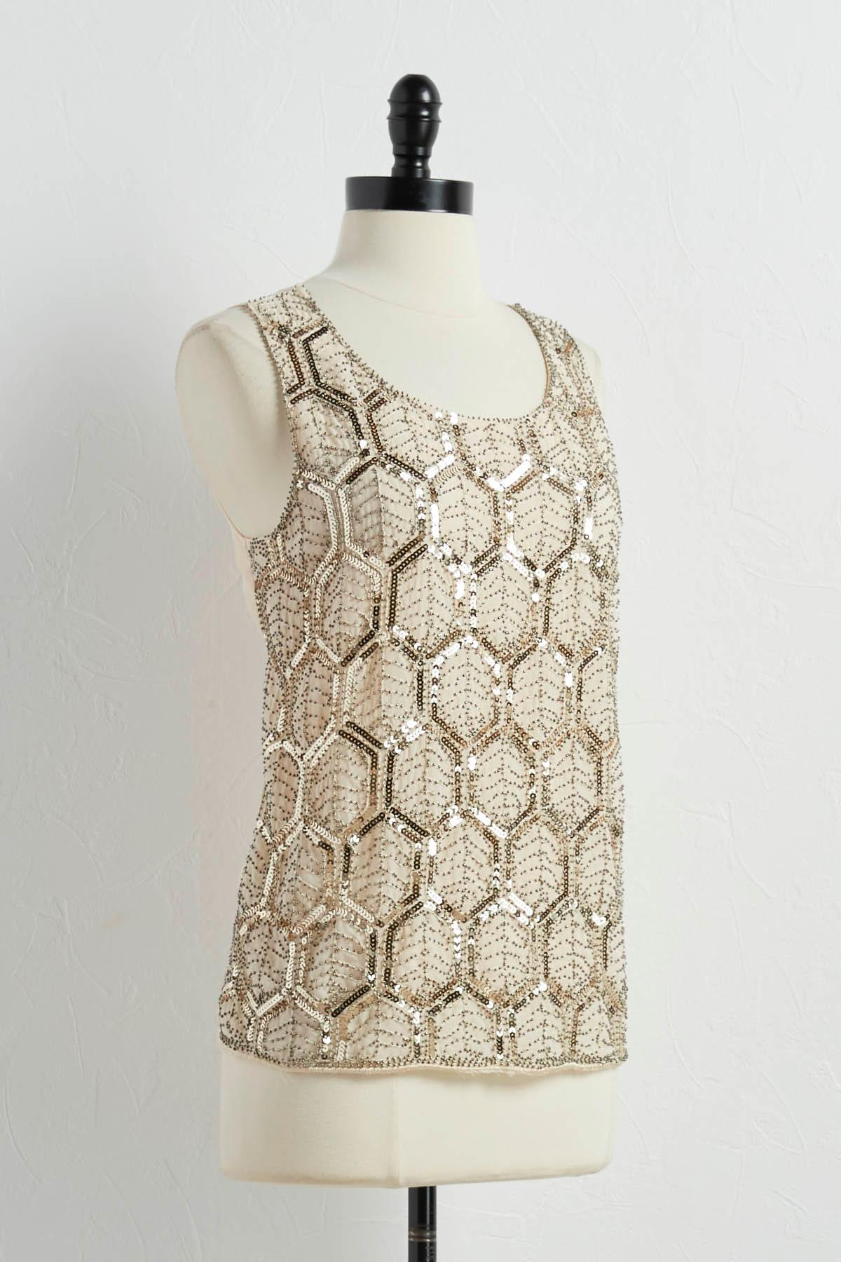 Geometric Sequin Front Tank